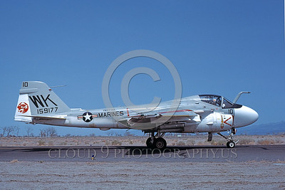 A-6USMC-VMA(AW)-224 00005 A taxing Grumman A-6 Intruders USMC attack jet 159177 VMA(AW)-224 BENGALS WK code NAS Fallon 4-1980 military airplane picture by Michael Grove, Sr