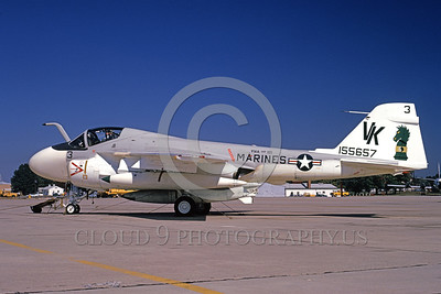 A-6USMC-VMA(AW)-121 00007 A static Grumman A-6 Intruder USMC attack jet 155657 VMA(AW)-121 GREEN KNIGHTS VK code NAF Washington 10-1974 military airplane picture by William Graf