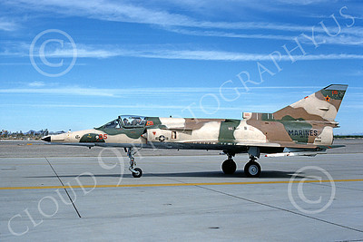 F-21-USMC 00013 A taxing Israeli Aircraft F-21 Kfir jet fighter USMC 999705 VMFT-401 SNIPERS MCAS Yuma 2-1989 military airplane picture by Mick Roth