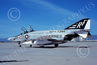 F-4USMC 00110 McDonnell Douglas RF-4B Phantom II USMC 157344 VMFP-3 EYES OF THE CORPS RF code NAS Moffett 6-1976 military airplane picture by Michael Grove, Sr