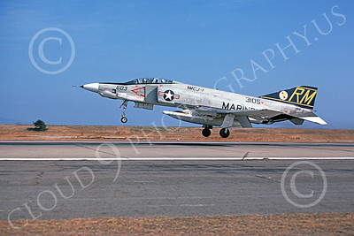 F-4USMC 00100 McDonnell Douglas RF-4B Phantom II USMC 153105 VMCJ-1 GOLDEN HAWKS RM March 1975 military airplane picture by Michael Levy