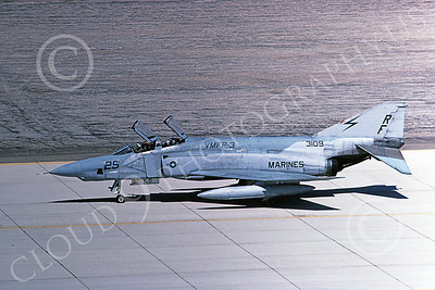 F-4USMC 00155 A taxing McDonnell Douglas RF-4B Phantom II USMC 153109 VMFP-3 EYES OF THE CORPS RF MCAS Yuma 4-1985 military airplane picture by Peter J Mancus