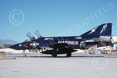 F-4USMC 00143 A static McDonnell Douglas RF-4B Phantom II USMC 157351 VMFP-3 EYES OF THE CORPS RF MCAS El Toro July 1990 military airplane picture by Michael Grove, Sr