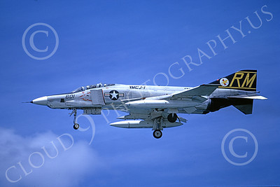F-4USMC 00090 McDonnell Douglas RF-4B Phantom II USMC 153093 VMCJ-1 GOLDEN HAWKS RM 8 Aug 1974 military airplane picture by Masumi Wada