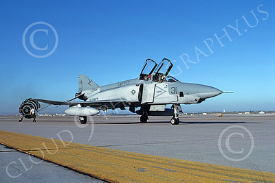 F-4USMC 00367 A taxing McDonnell Douglas RF-4B Phantom II USMC VMFP-3 EYES OF THE CORPS RF code with deployed chute MCAS Yuma 11-1983 military airplane picture by Carl E Porter