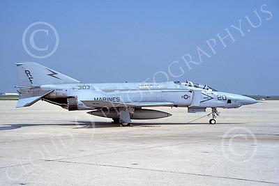 F-4USMC 00319 A static McDonnell Douglas RF-4B Phantom II USMC 153103 VMFP-3 EYES OF THE CORPS RF 7-1986 military airplane picture by D F Brown