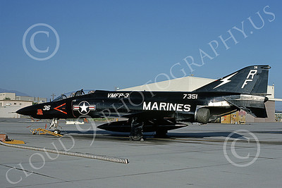 F-4USMC 00343 A static McDonnell Douglas RF-4B Phantom II USMC 157351 VMFP-3 EYES OF THE CORPS RF MCAS El Toro July 1990 military airplane picture by Michael Grove, Sr