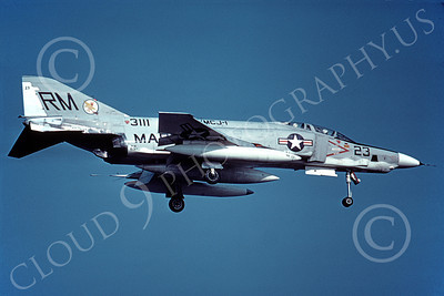 F-4USMC 00308 McDonnell Douglas RF-4B Phantom II USMC 15311 VMCJ-1 EYES OF THE CORPS RM 8-1974 military airplane picture by Hugh R Muir