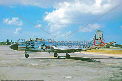 F2H-USMC 0001 A static  bare metal McDonnell F2H-4 Banshee USMC jet fighter LK code military airplane picture by William J Balogh     DONEwt copy