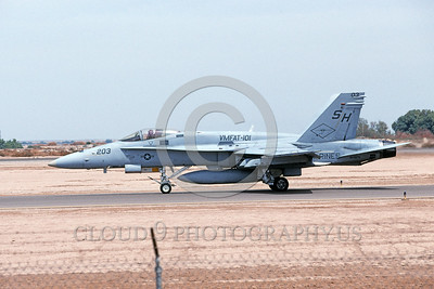 F-18USMC-VMFAT-101 0017 A taxing McDonnell Douglas F-18 Hornet USMC jet fighter 164975 VMFAT-101 SHARPSHOOTERS NAS El Centro 4-2002 military airplane picture by Michael Grove, Sr