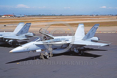 F-18USMC-VMFA-232 0003 A static McDonnell Douglas F-18 Hornet USMC 1637780 VMFA-232 RED DEVILS 4-1997 military airplane pictures by Michael Grove, Sr