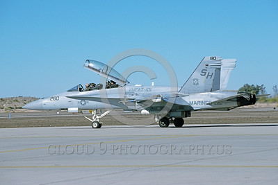 F-18USMC-VMFAT-101 0007 A taxing McDonnell Douglas F-18D Hornet USMC 164028 VMFAT-101 SHARPSHOOTERS MCAS Yuma 1-1995 military airplane picture by Norris Graser