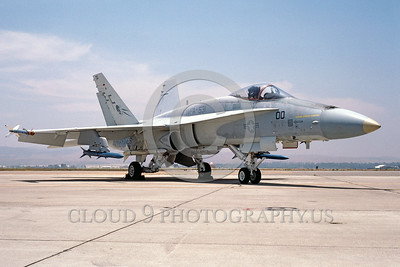 F-18USMC-VMFA-531 0001 A static McDonnell Douglas F-18A Hornet USMC 161718 VMFA-513 GREY GHOSTS commanding officer's airplane MCAS El Toro 6-1984 military airplane picture by Peter J Mancus