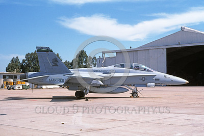 F-18USMC-VMFA(AW)-121 0025 A static McDonnell Douglas F-18D Hornet USMC 164241 VMFA-121 GREEN KNIGHTS commanding officer's airplane MCAS El Toro 4-1996 military airplane picture by Michael Grove, Sr
