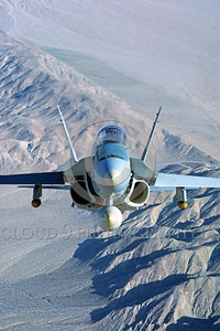 F-18USMC-Generic 0004 A flying head-on view of a McDonnell Douglas F-18 Hornet USMC jet fighter 2-1984 military airplane picture by Peter J Mancus