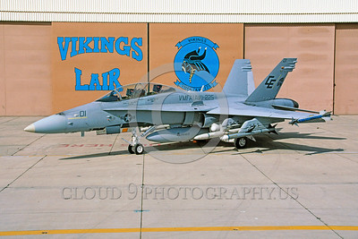 F-18USMC-VMFA(AW)-225 0001 A static McDonnell Douglas F-18B Hornet USMC VMFA(AW)-225 VIKINGS 5-1992 military airplane picture by Robert L Lawson