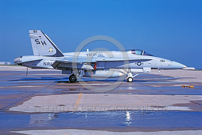 F-18USMC-VMFAT-101 0037 A static McDonnell Douglas F-18C Hornet USMC 164257 VMFAT-101 SHARPSHOOTERS 6-1991 military airplane picture via African Aviation Slide Service