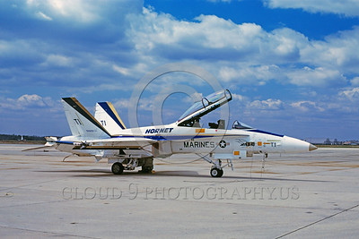 F-18USMC-Test 0001 A McDonnell Douglas F-18B Hornet USMC jet fighter prototype military airplane picture by Jim Kippen
