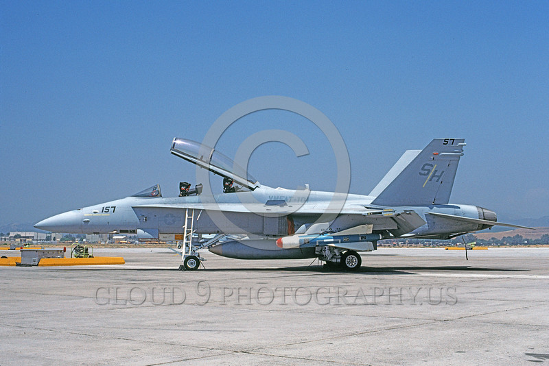 F-18USMC-VMFAT-101 0043  A static McDonnell Douglas F-18D Hornet USMC 164001 VMFAT-101 SHARPSHOOTERS with large missile MCAS Yuma 8-1990 military airplane picture by Michael Grove, Sr
