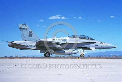 F-18USMC-VMFA(AW)-121 0037 A taxing McDonnell Douglas F-18D Hornet USMC 164245 VMFA(AW)-121 GREEN KNIGHTS NAS Fallon 5-1993 military airplane picture by Michael Grove, Sr