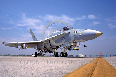 F-18USMC-VMFA-314 0001 A static McDonnell Douglas F-18A Hornet USMC jet fighter VMFA-314 BLACK KNIGHTS VW code with missiles MCAS El Toro 6-1984 military airplane picture by Peter J Mancus