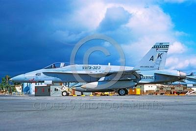 F-18USMC-VMFA-323 0001 A static McDonnell Douglas F-18A Hornet USMC VMFA-323 DEATH RATTLERS USS Coral Sea AK code MCAS El Toro military airplae picture by Michael Grove, Sr