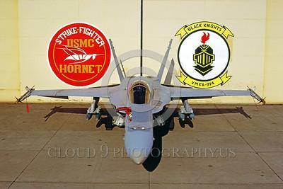 F-18USMC-VMFA-314 0003 A static McDonnell Douglas F-18A Hornet USMC jet fighter VMFA-314 BLACK KNIGHTS MCAS El Toro 2-1984 military airplane picture by Peter J Mancus