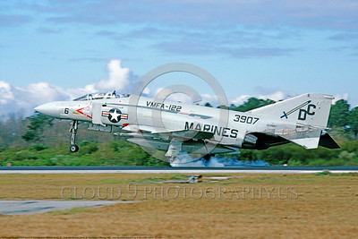 F-4II-USMC-VMFA-122 0001 A landing McDonnell Douglas F-4S Phantom II USMC jet fighter 153907 VMFA-122 CRUSADERS DC code MCAS Beaufort 1-1981 military airplane picture by Michael Grove, Sr      DONEwt