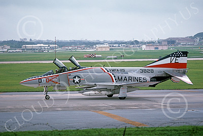 F-4USMC 00104 A taxing McDonnell Douglas F-4J Phantom II USMC 153828 VMFA-115 SILVER EAGLES BICENTENNIAL 7 July 1976 military airplane picture by Masumi Wada