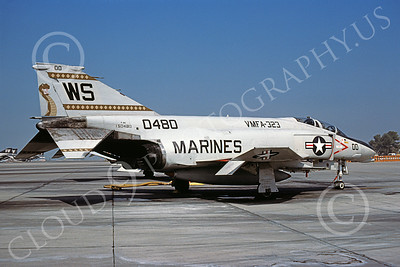 F-4USMC 00117 McDonnell Douglas F-4 Phantom II USMC 150580 VMFA-323 DEATH RATTLERS MCAS El Toro Oct 1980 military airplane picture by Michael Grove, Sr