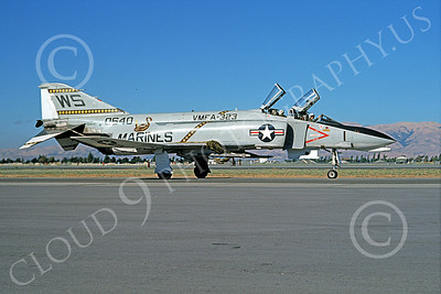 F-4USMC 00119 McDonnell Douglas F-4 Phantom II USMC 150640 VMFA-323 DEATH RATTLERS WS NAS Moffett July 1974 military airplane picture by Michael Grove, Sr