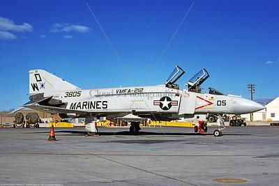 F-4II-USMC-VMFA-212 0001 A static McDonnell Douglas F-4 Phantom II USMC jet fighter, 153805, VMFA-212 DEVIL CATS WD tail code Nellis AFB 8 Dec 1980, military airplane picture by Michael Grove, Sr copy