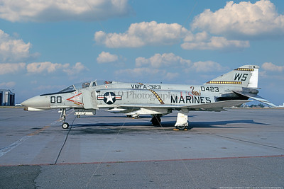 F-4II-USMC-VMFA-323 0001 A static McDonnell Douglas F-4B Phantom II USMC jet fighter, 150423, VMFA-323 DEATH RATTLERS, commanding officer's plane WS code NAS Moffett 7-1973, military airplane picture by Michael Grove, Sr   T copy