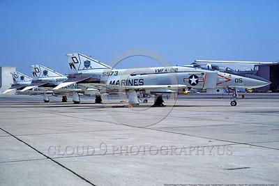F-4USMC 00115 McDonnell Douglas F-4 Phantom II USMC 155573 VMFA-212 DEVIL CATS WD NAS Miramar April 1977 military airplane picture by Robert L Lawson DONEwt
