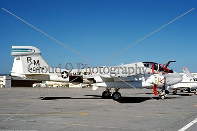 EA-6A-USMC-VMAQ-4 0001 A static USMC Grumman EA-6A 149475 VMAQ-4 SEAHAWKS RM tail code NAS Alameda 5-1984, military airplane picture, by Michael Grove, Sr     Dt
