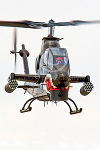 AH-1USA 00002 A flying SHARKMOUTH Bell AH-1 Cobra gun ship helicopter picture by Peter J Mancus