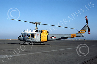 H-1USAF 00003 A static Bell UH-1 Iroquois Huey USAF Hamilton AFB 4-1973 helicopter picture by Peter B Lewis