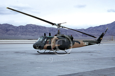 H-1USAF 00005 A static Bell UH-1 Iroquois Huey USAF Nellis AF 4-1973 helicopter picture by Peter B Lewis