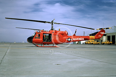 H-1USMC 00001 A static Bell UH-1 Iroquois Huey USMC helicopter MCAS Yuma 4-73 helicopter picture by Peter B Lewis