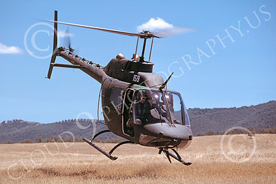OH-58NG 00004 A flying Bell OH-58 Kiowa California National Guard helicopter picture 7-1987 by Peter J Mancus