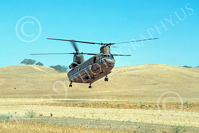 CH-47NG 00012 A landing Boeing CH-47D Chinook California National Guard 6-1987 helicopter picture by Peter J Mancus