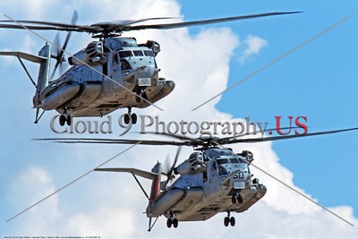 CH-53EUSMC 00048 Two USMC Sikorsky CH-53E Super Stallion helicopters fly in close formation, military helicopter picture, by Peter J Mancus     DONEwt copy