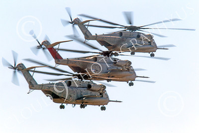 CH-53EUSMC 00022 Three USMC Sikorsky CH-53E Super Stallions fly in close formation, military helicopter picture, by Peter J Mancus