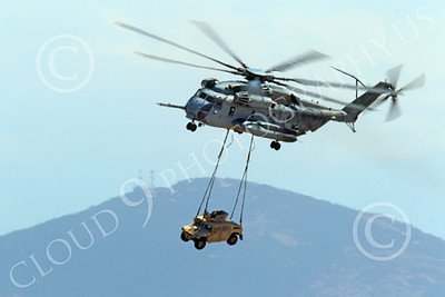 CH-53EUSMC 00002 A USMC Sikorsky CH-53E Super Stallion airlifts a military vehicle, helicopter picture, by Peter J Mancus