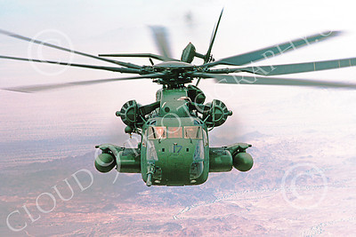 CH-53EUSMC 00024 Head-on view of a flying Sikorsky CH-53E Super Stallion USMC 4-1985 by Peter J Mancus