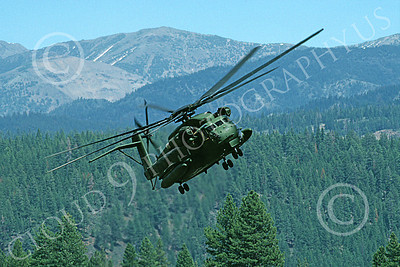 CH-53EUSMC 00064 A flying Sikorsky CH-53E Super Stallion USMC banks left Truckee 7-1990 helicopter picture by Peter J Mancus