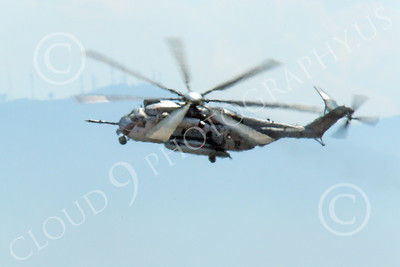 CH-53EUSMC 00006 A flying USMC Sikorsky CH-53E Super Stallion banks left, military helicopter picture, by Peter J Mancus
