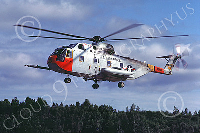 H-3USAF 00010 A hoovering Sikorsky HH-3 Pelican USAF 8-1984 helicopter picture by Peter J Mancus