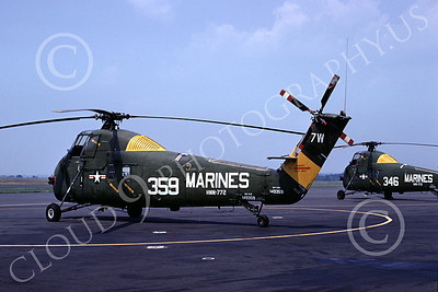 H-34USMC 00001 A static Sikorsky UH-34D Seabat USMC helicopter HMM-772 NAS Willow Grove 7-1967 helicopter picture by Richard C Sullivan