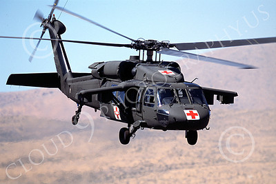 H-60USA 00002 A flying Red Cross Sikorsky UH-60 Blackhawk US Army helicopter picture Reno 9-1996 by Peter J Mancus